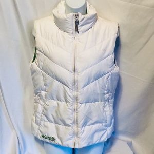 Columbia White Green Puffer Vest Zip XL Junior